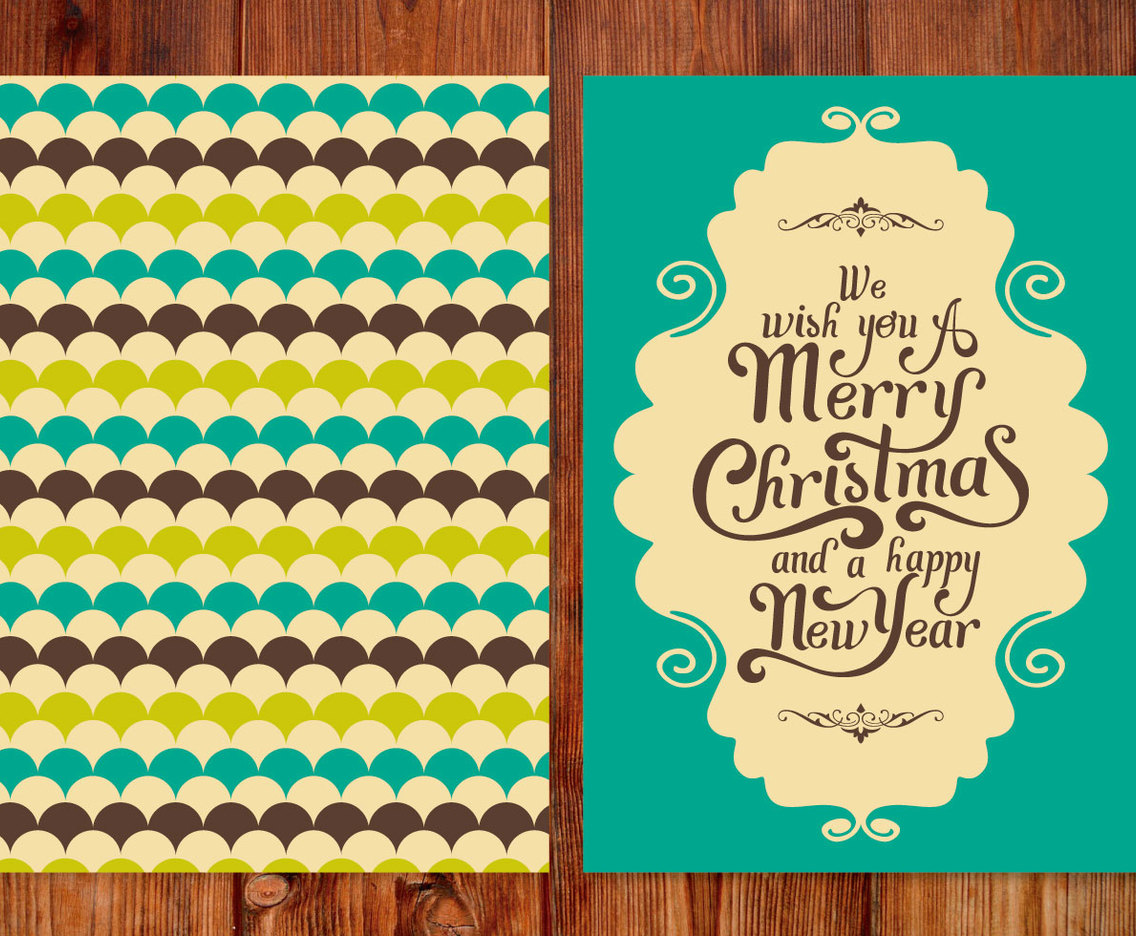 Retro Style Christmas Card Vector Art & Graphics | freevector.com