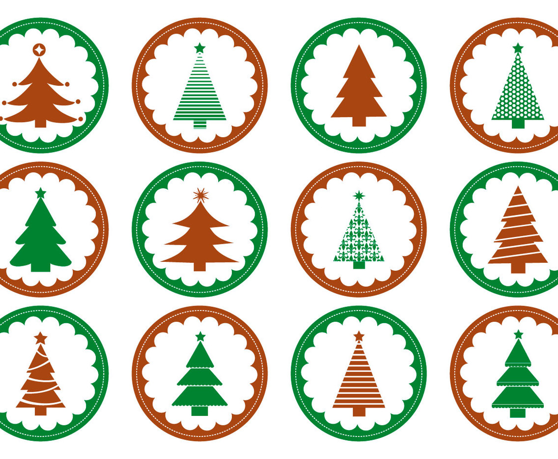 Cute Christmas Tree Stamp Icons