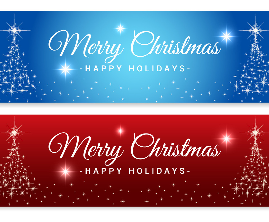 Sparkle Merry Christmas Tree Banners