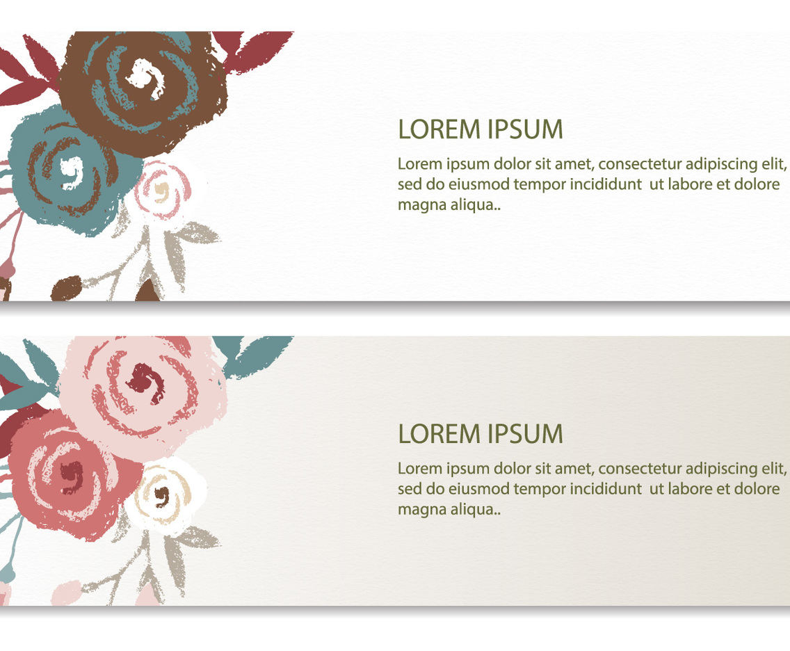Drawn Floral Vector Banners