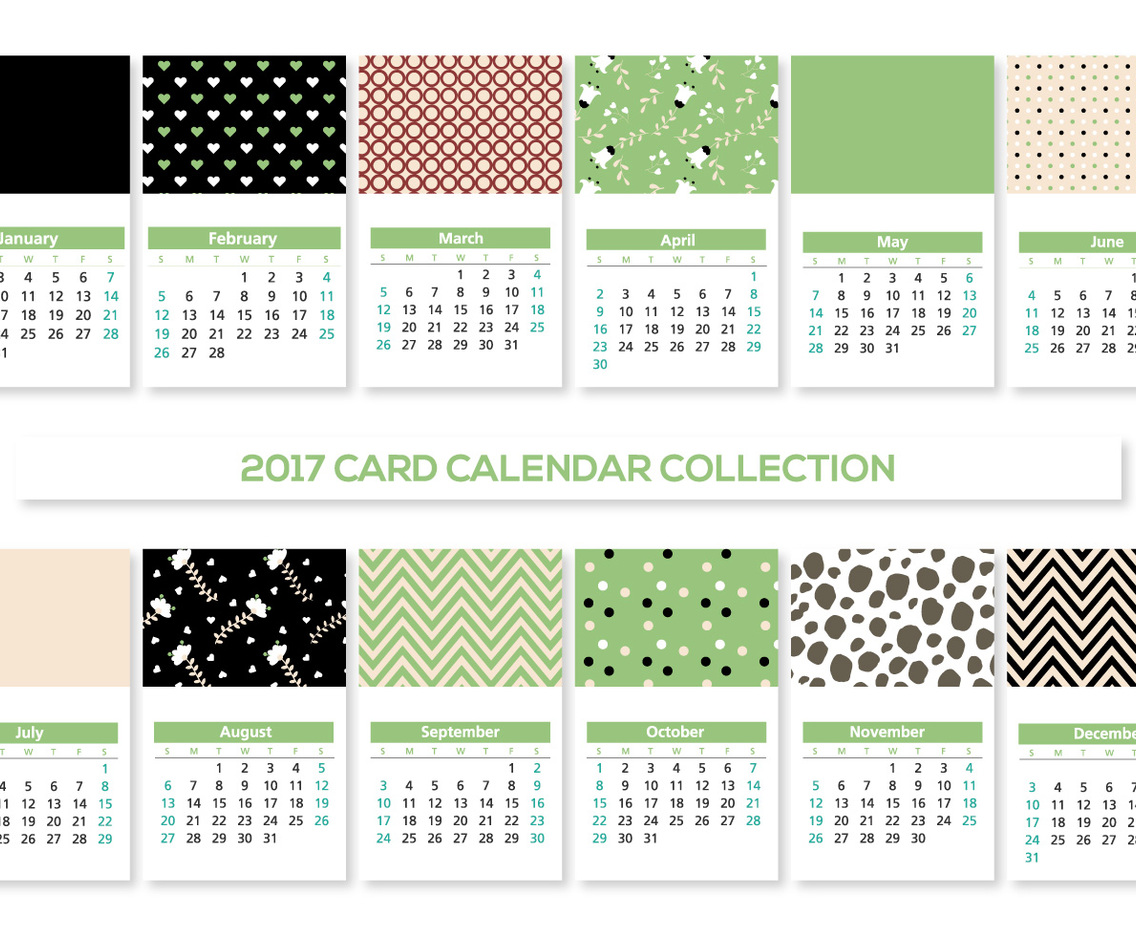 Cute 2017 Card Calendars Collection