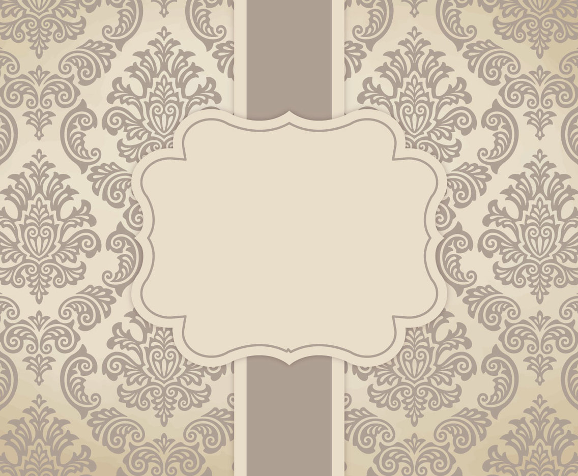 Blank Brown Vintage Damask Card Template