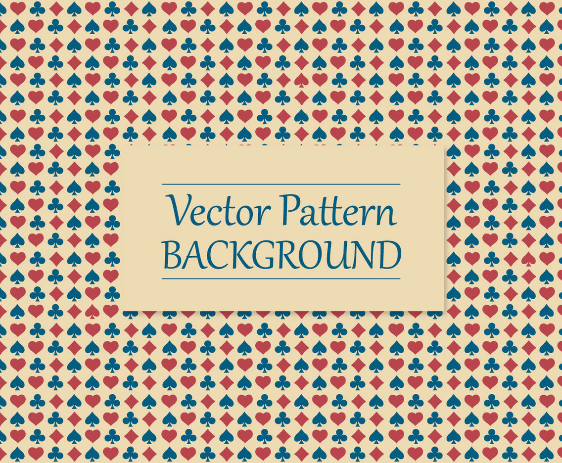 Colorful Card Suits Pattern Background