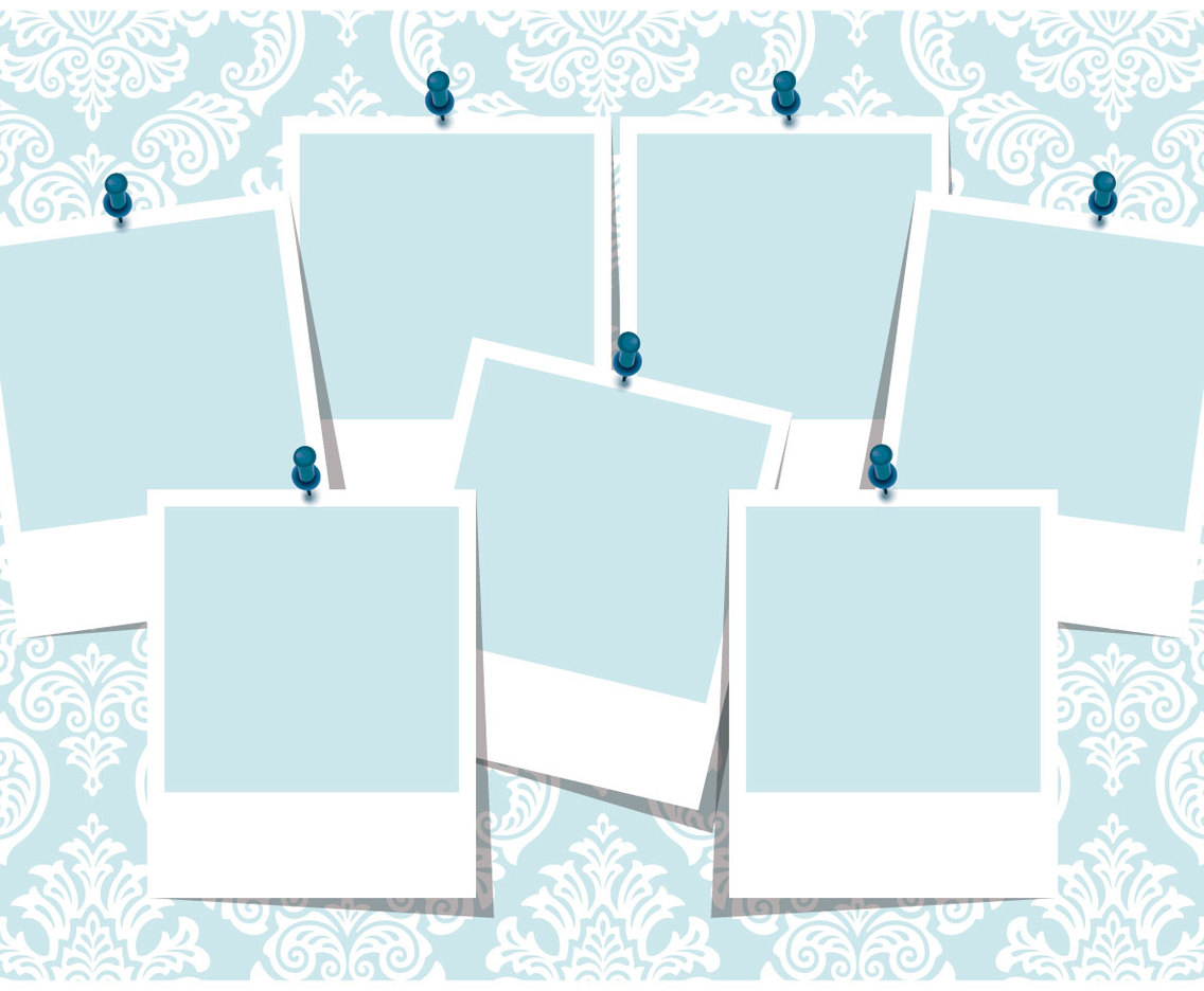 Blue Damask Photo Collage Template Vector Art & Graphics ...