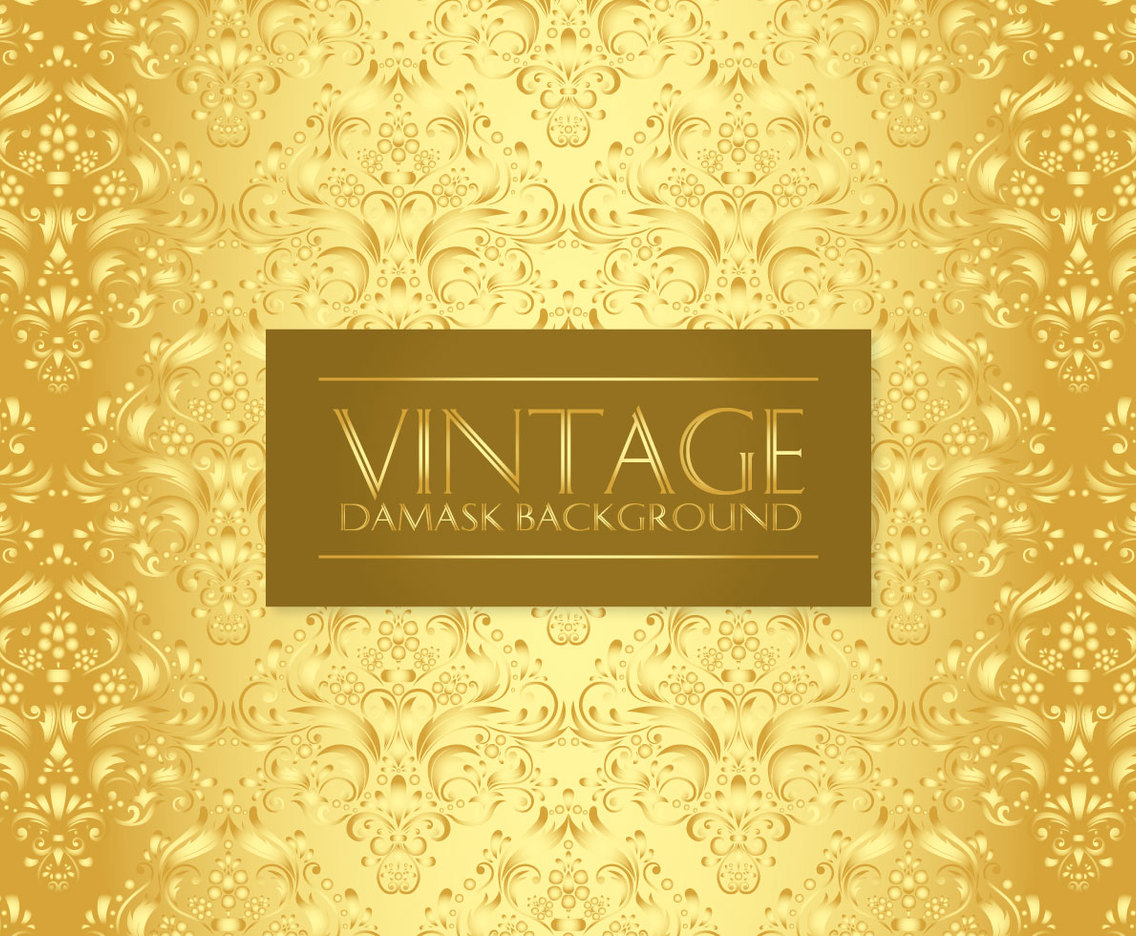 Gold Vintage Damask Background