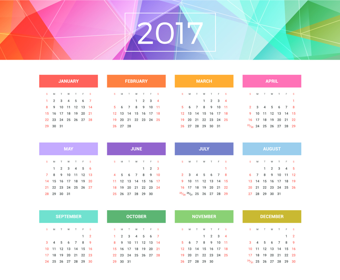 Colorful Calendar 2017 Stationary Template