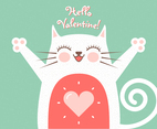 Cute Romantic Cat Greeting Card