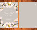 Gray and Blush Floral Wedding Card Illustration