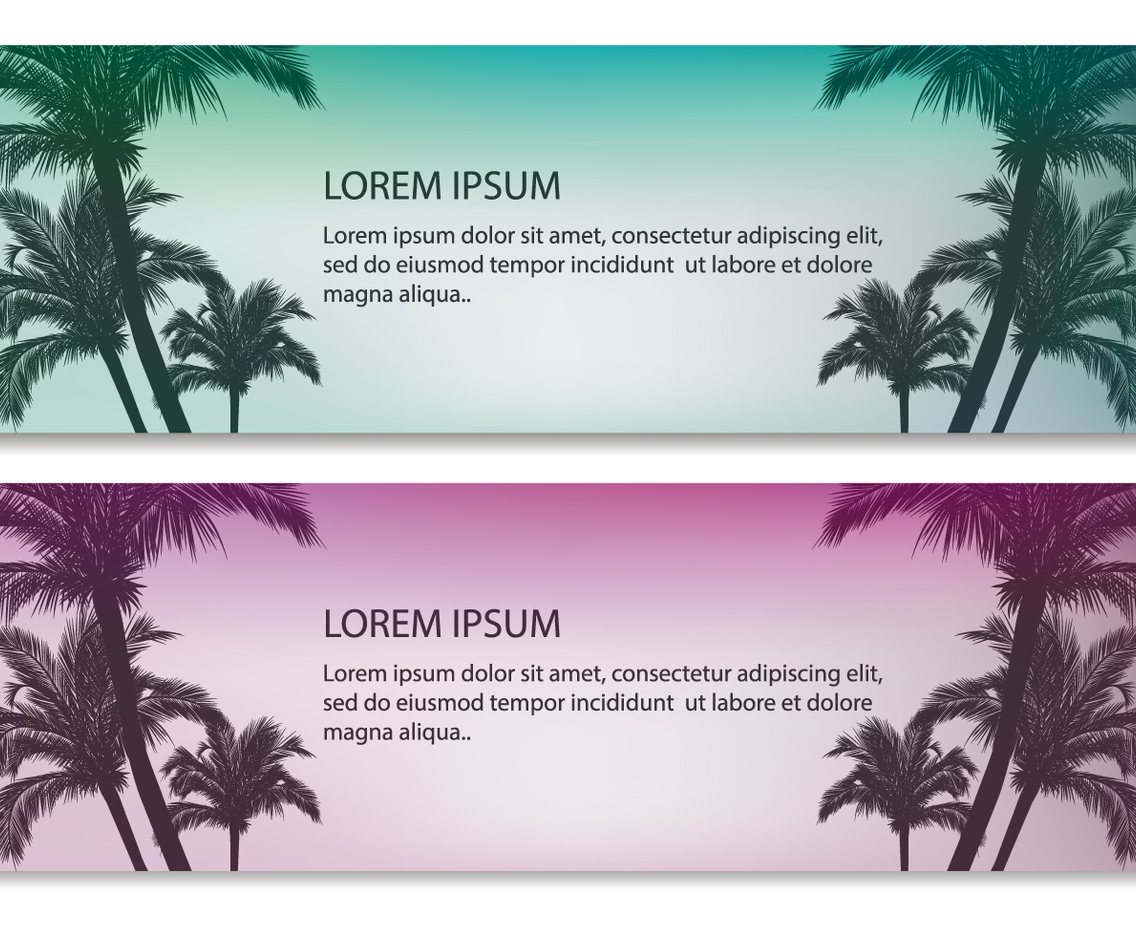 Palm Tree Vector Banners