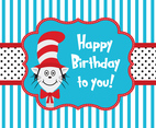 Cat In The Hat Greeting Card Template
