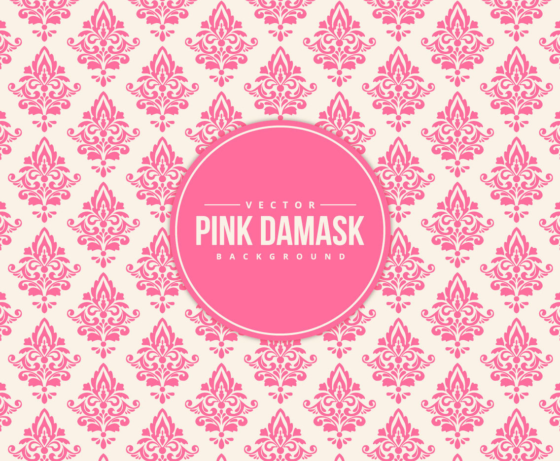 Beautiful Pink Damask Pattern Background