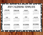 Cute Hand Drawn 2017 Style Calendar Template