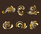 Golden Curlicues Ornament Vectors