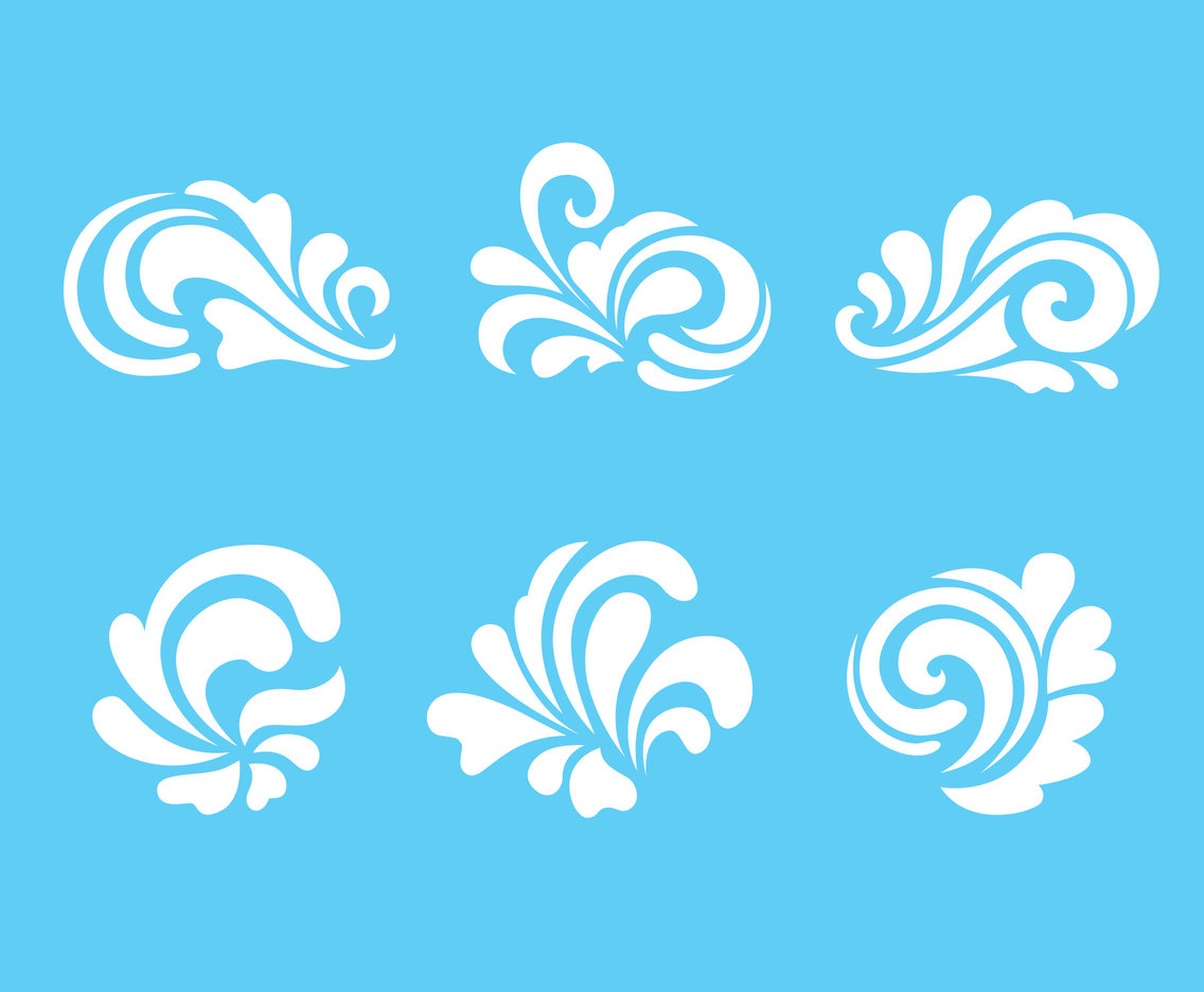 White Curlicues Ornament Vectors