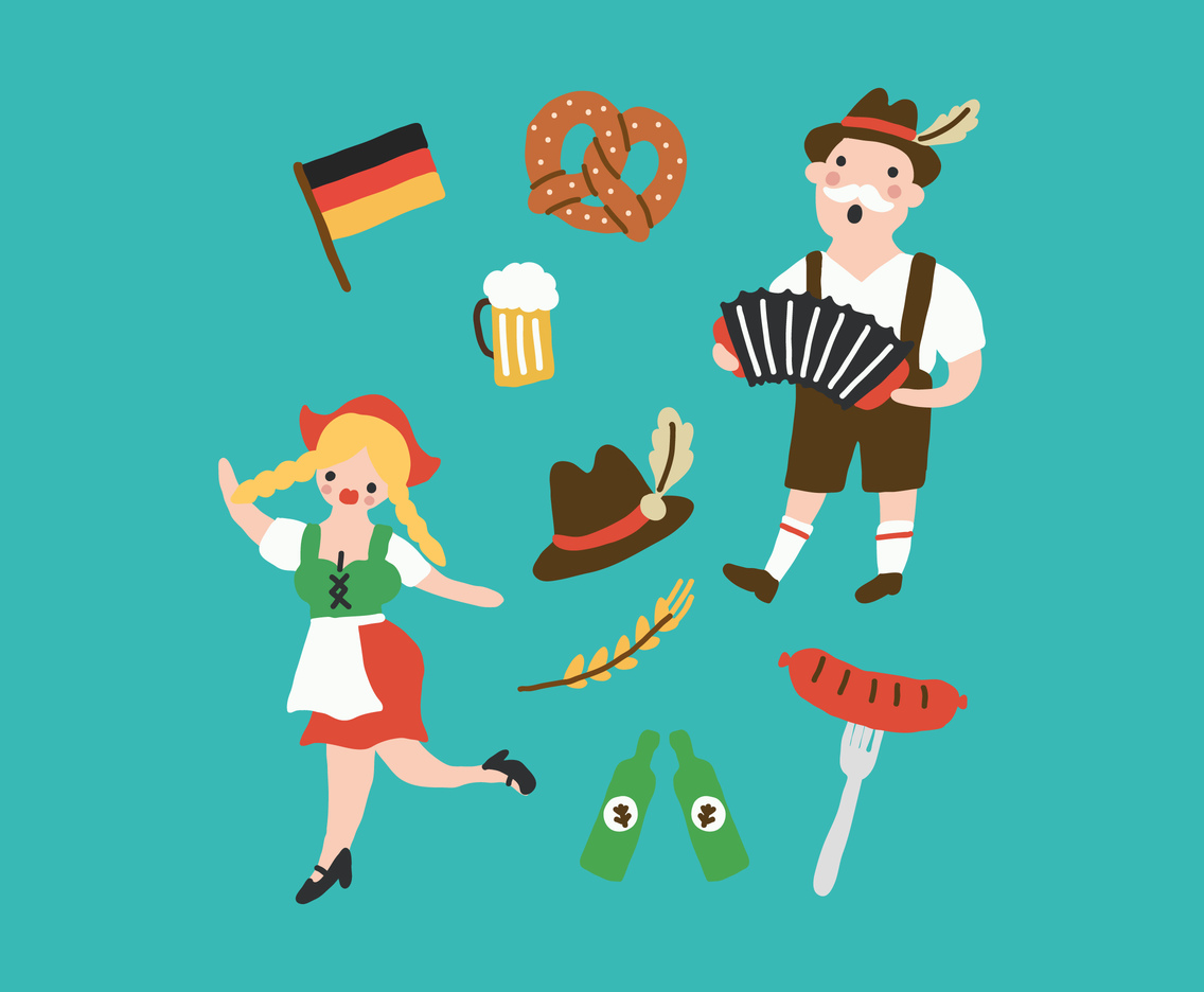 Funny And Colorful Oktoberfest Drawings