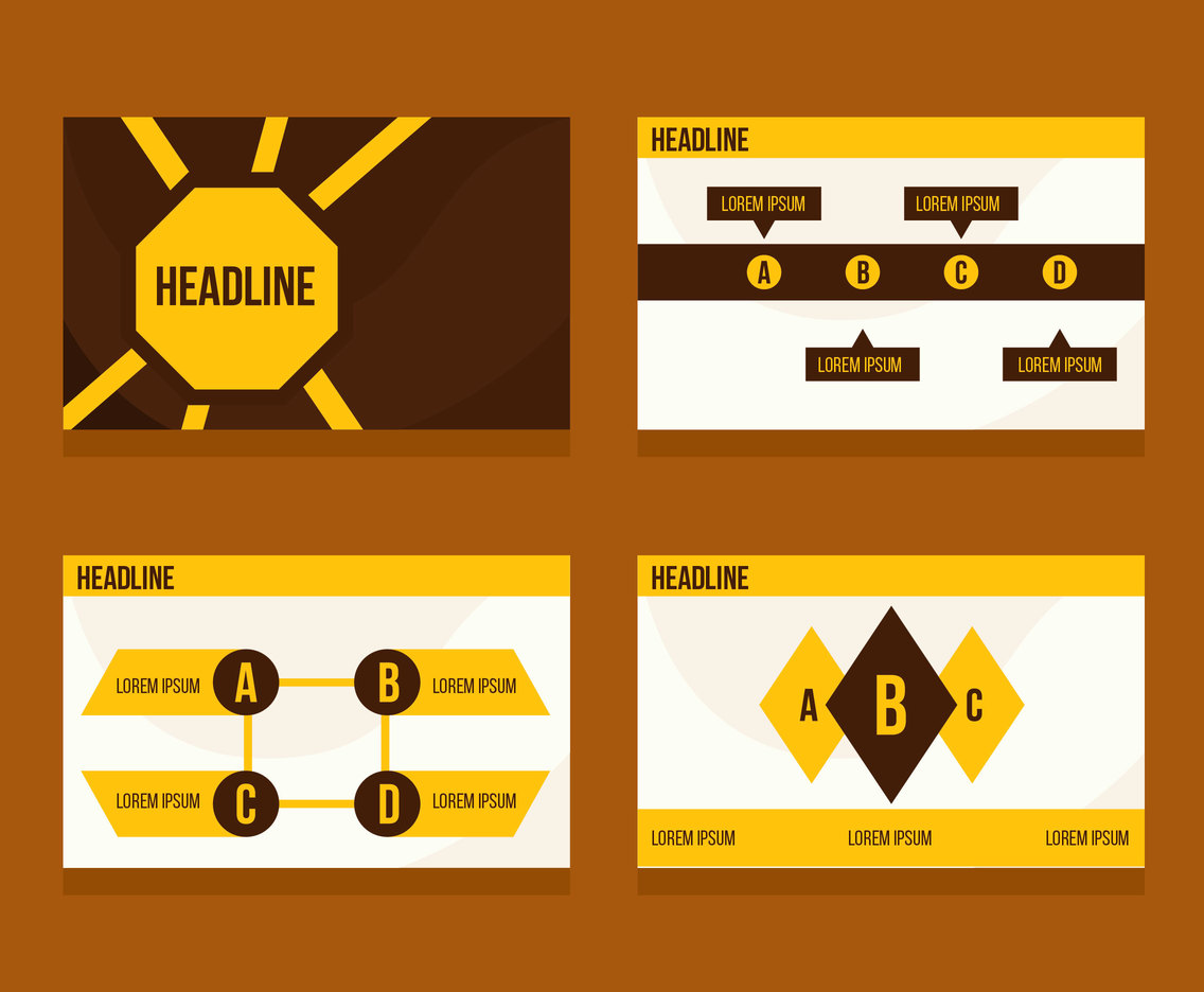 Yellow And Brown Powerpoint Template Vectors