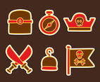 Pirate Treasure Icons Vectors