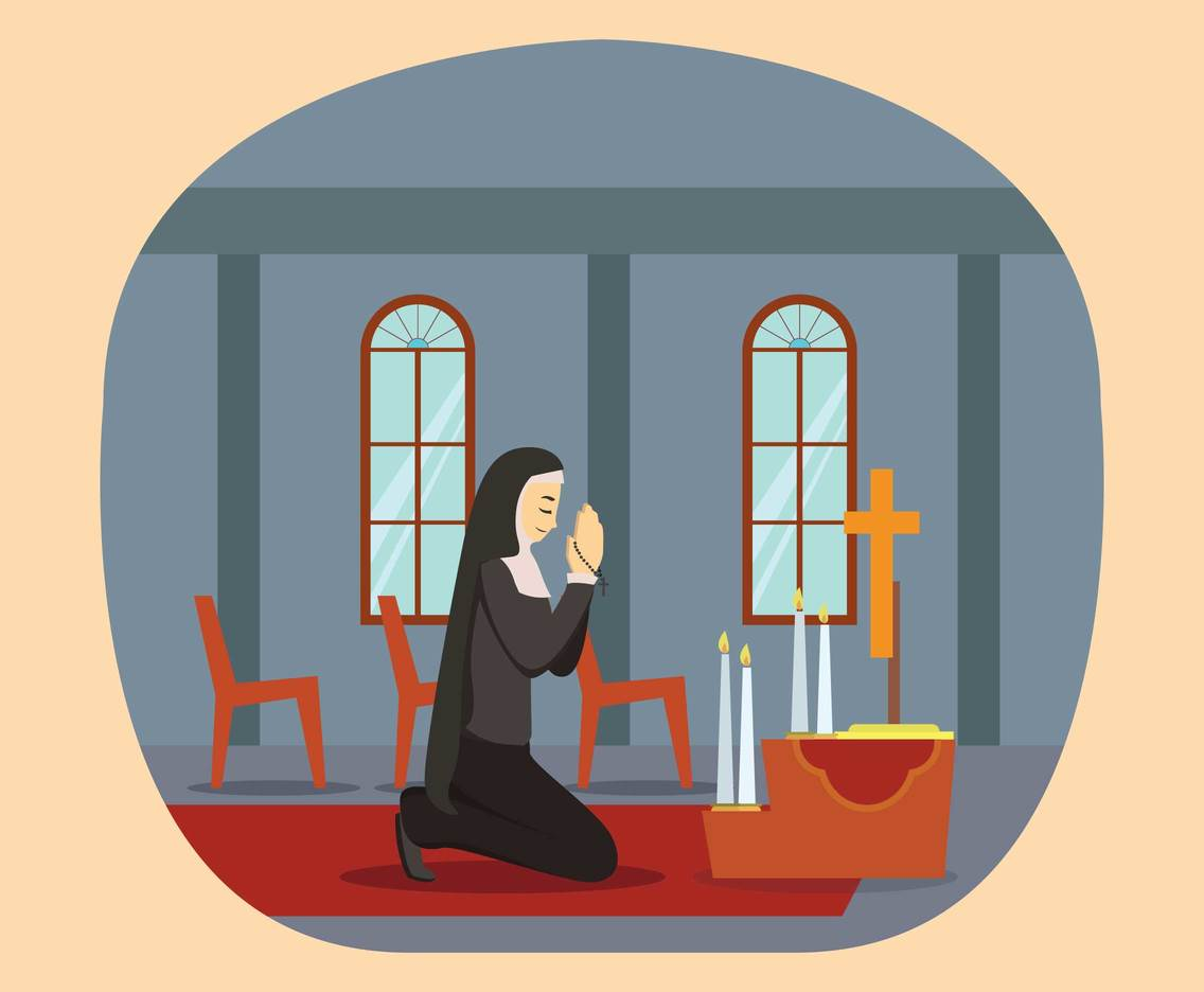 Free Nun Praying in Church Illustration