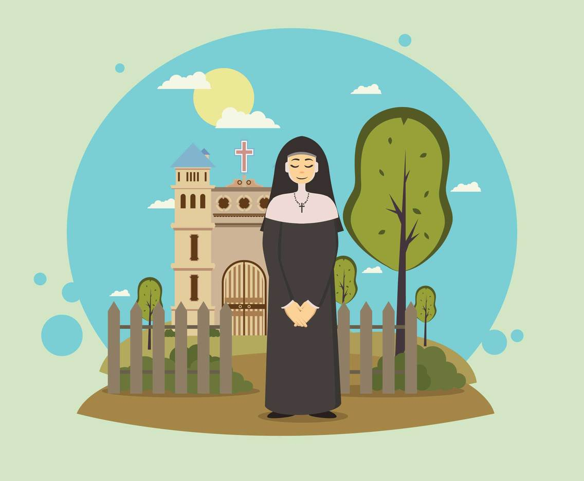Free Nun Standing In Front Of Church Illustration