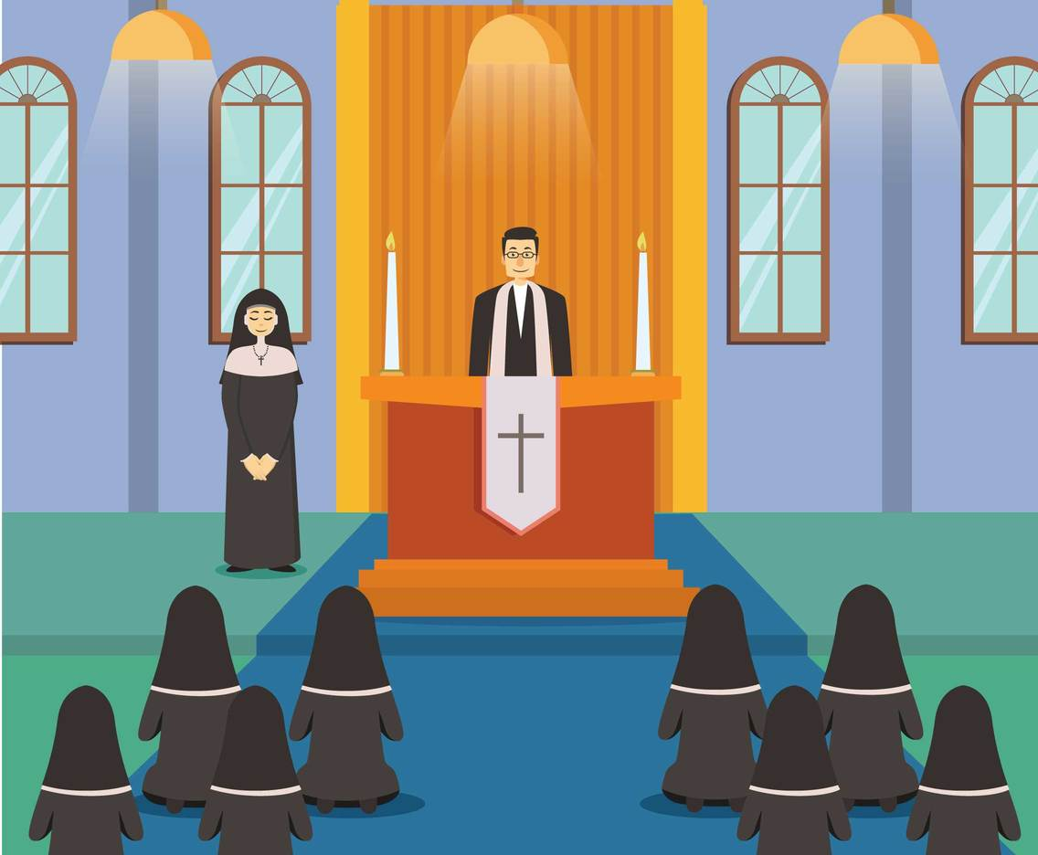 Free Nun And Priest in Church Service Illustration