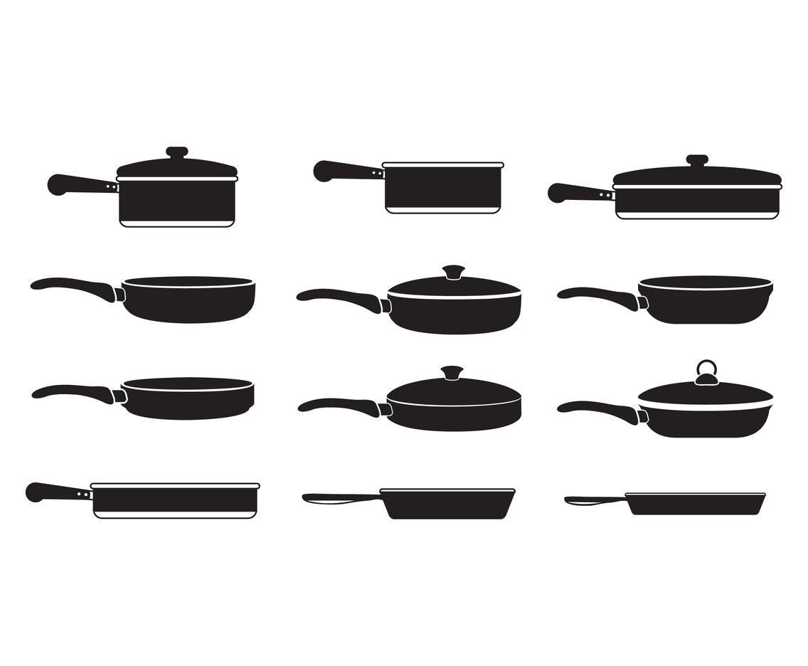 Pans Cooking Silhouette Vectors