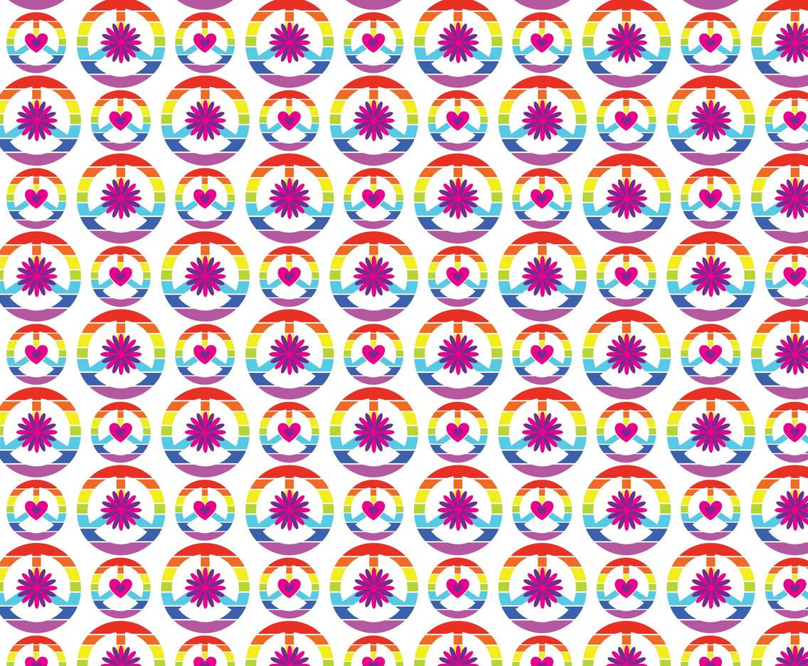 Rainbow Hippie Pattern Background