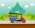 Flat Landmark with Transportation in Thailand Vector