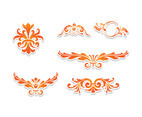 Orange Flat Curlicues Vector Set