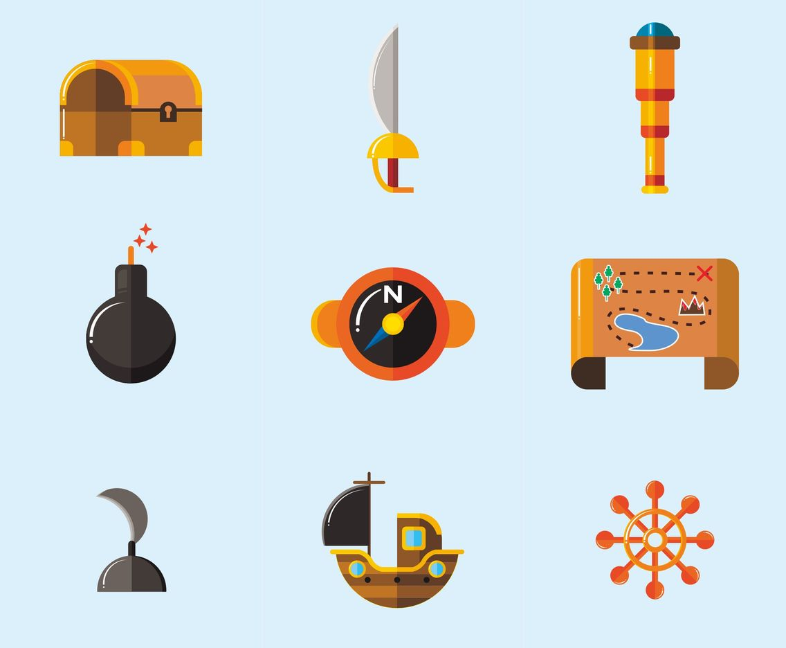 Pirates and Treasure Vector Icons