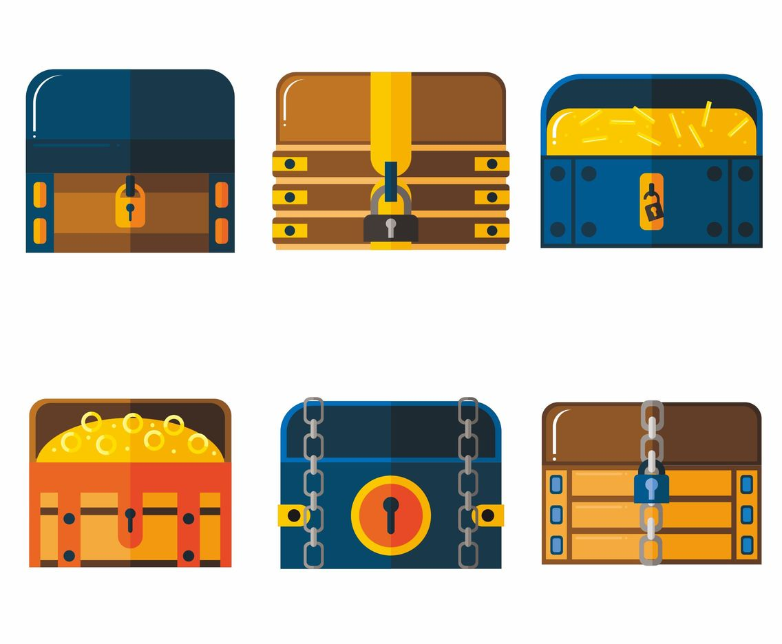 Kinds of Treasure Chest Vectors