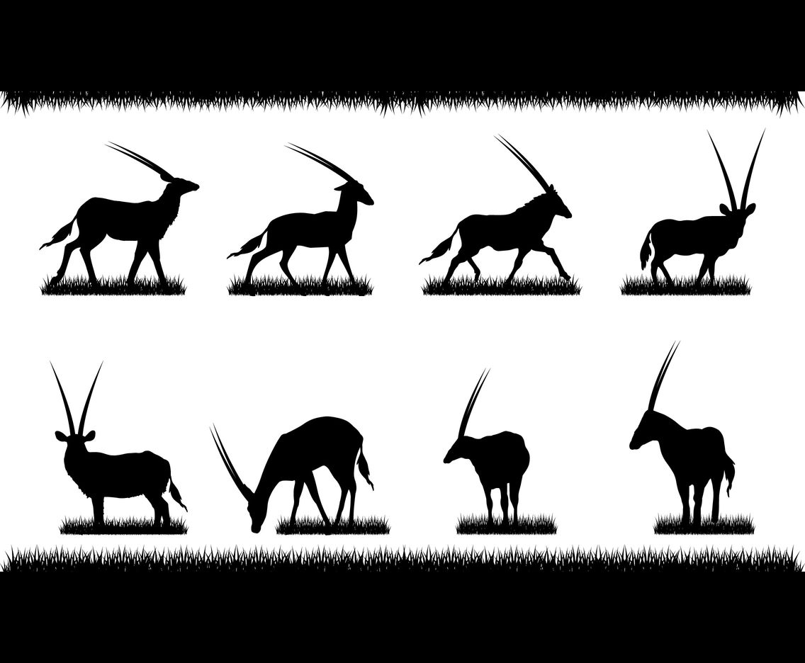Oryx and Grass Silhouette Vectors