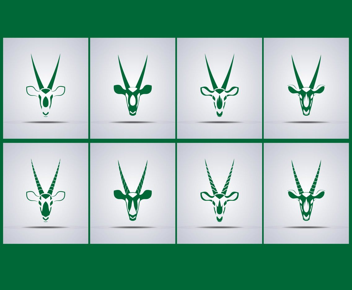 Green Oryx Head Icon Vectors