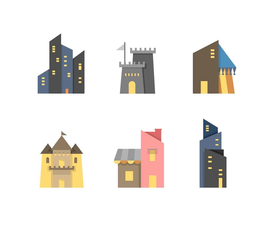 Free Beautiful Utopia Building Vectors