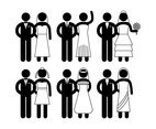 Bride and Groom Vector Simple Icon Set
