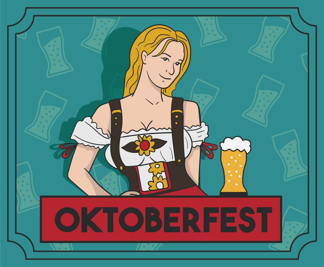 Oktoberfest Girl Illustration Vector