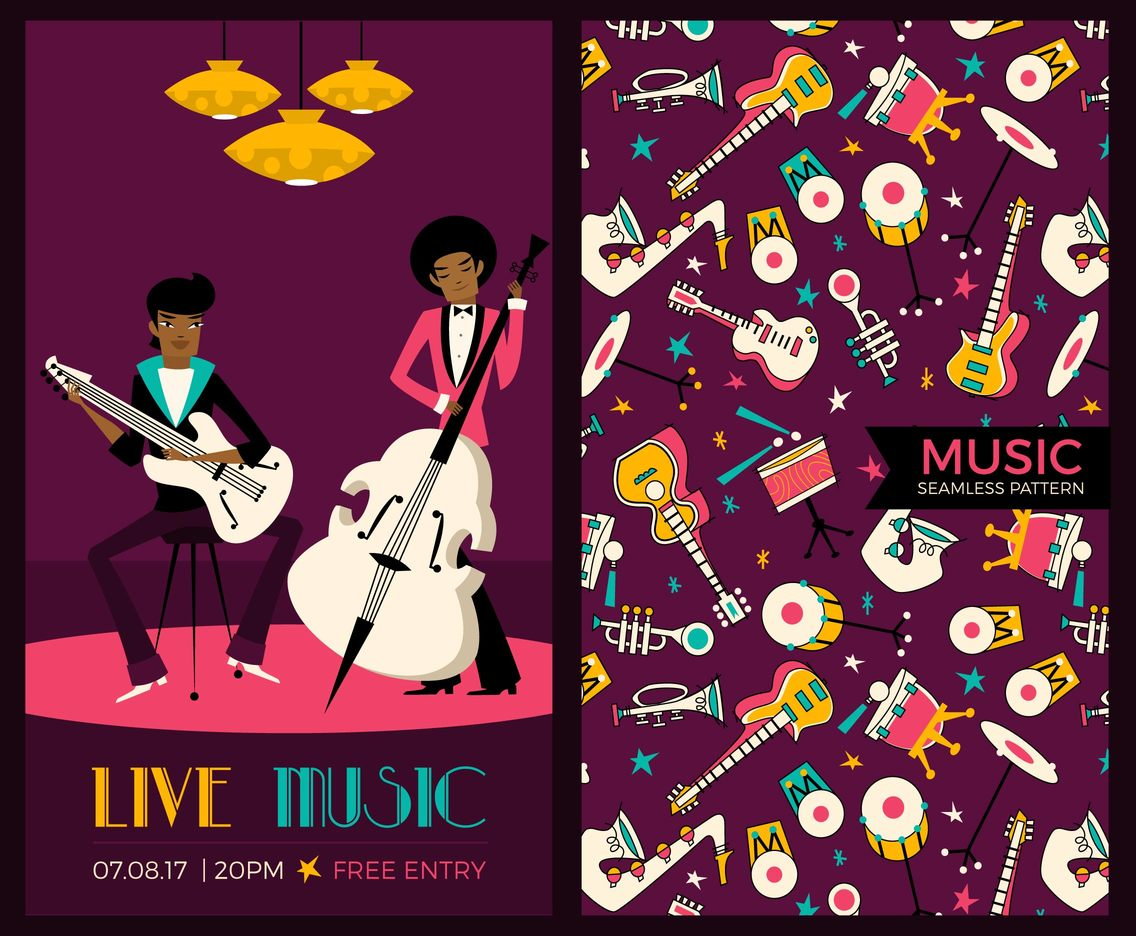 Funky Jazz Music Flyer Vector Template