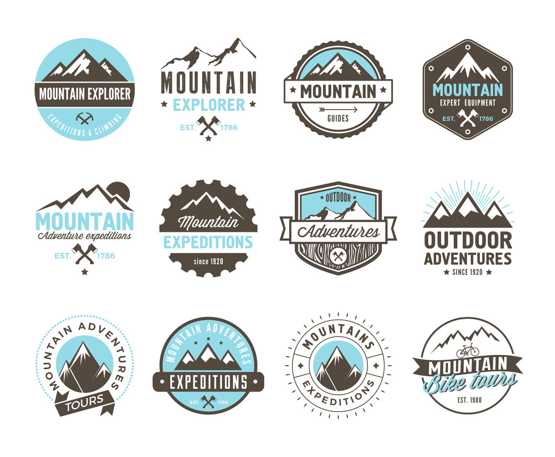 Mountain Adventure And Expedition Logo Badges Vector