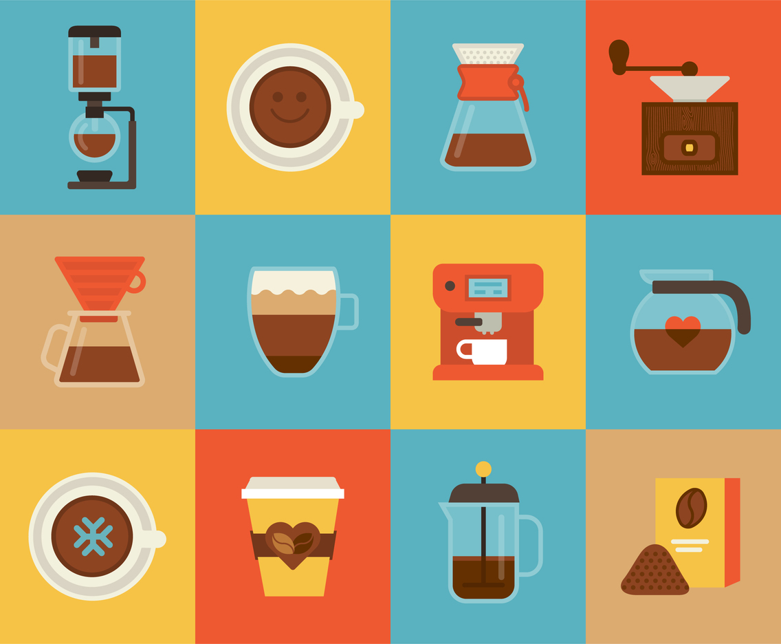 Flat Coffee Vector Icons