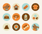 Cute Dog Flat Vector Icons
