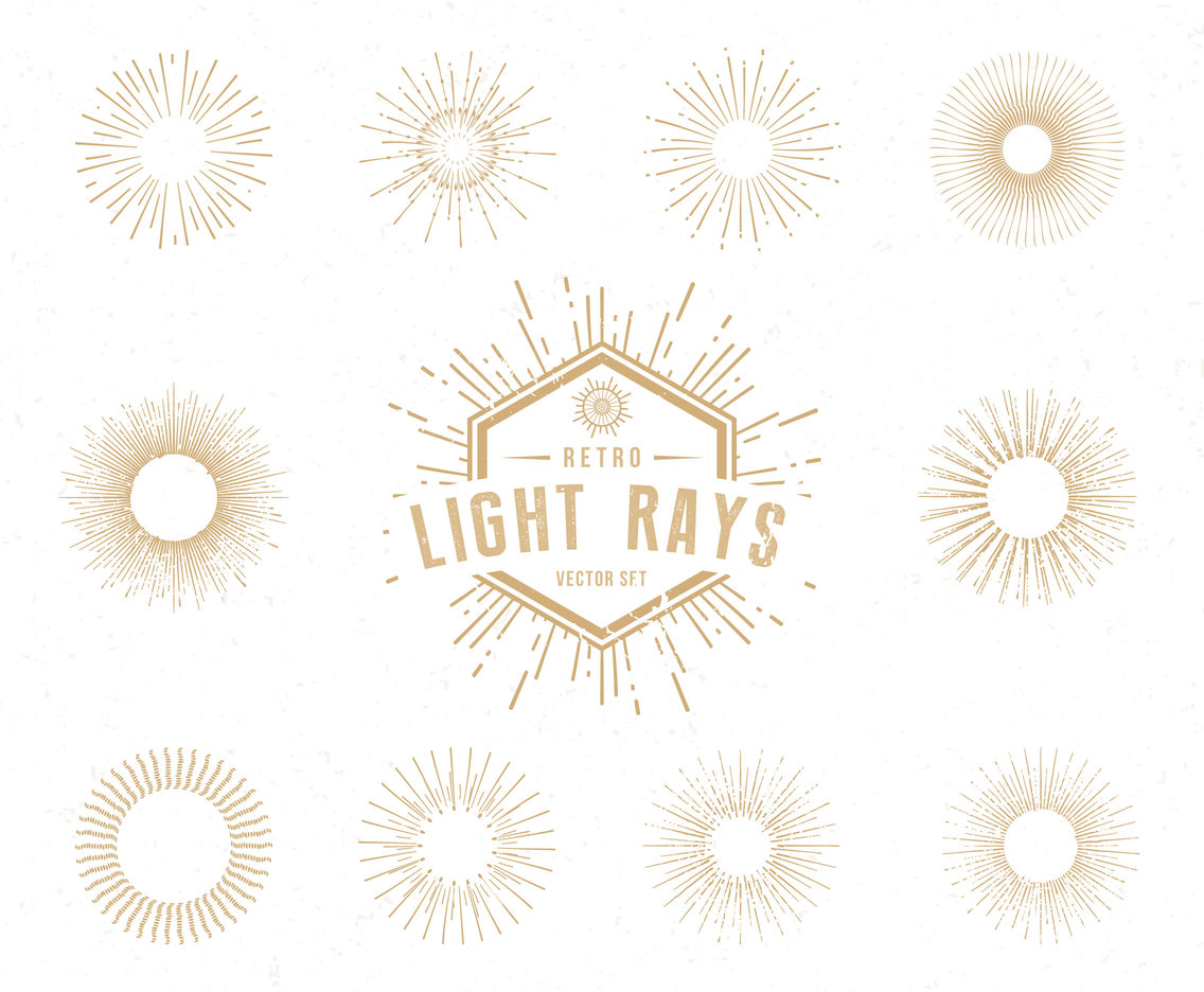 Retro Light Rays Vector Set