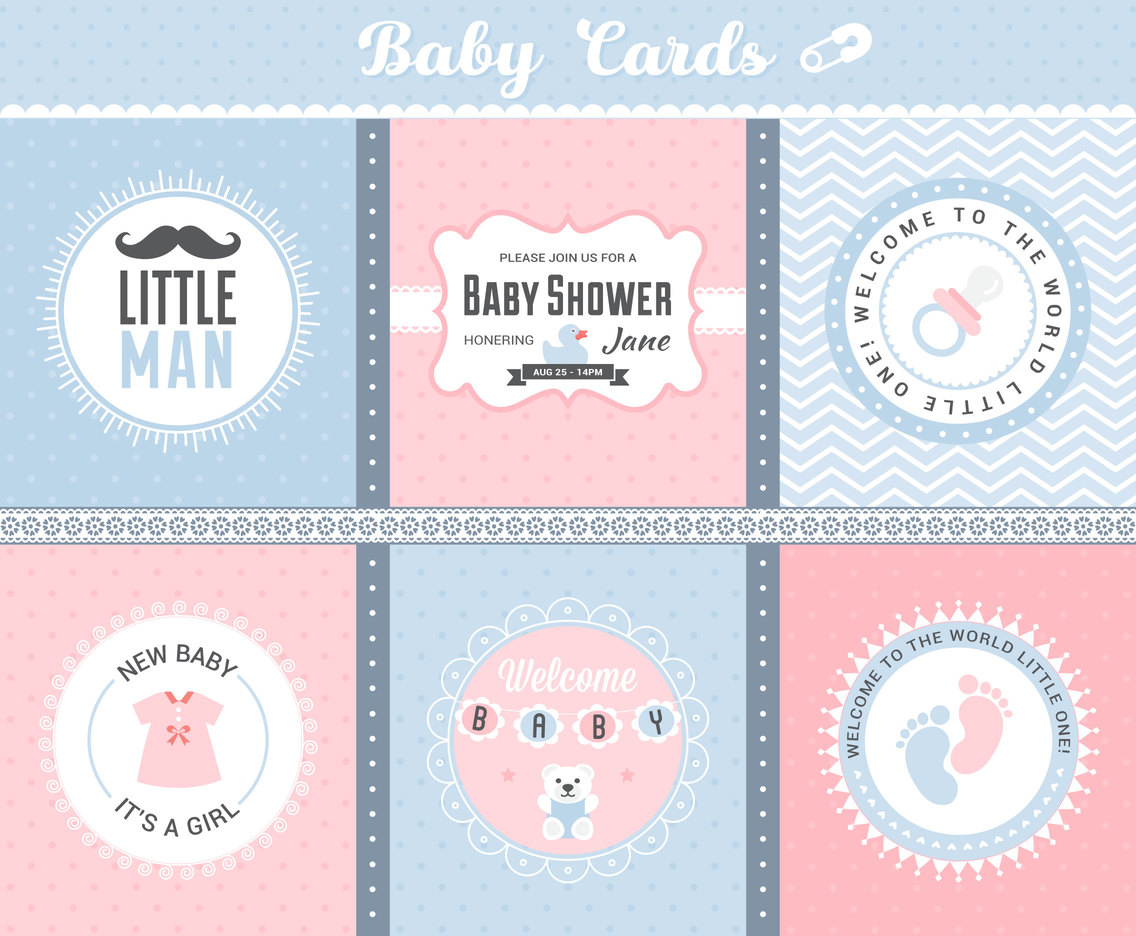 Cute Baby Arrival Cards Vector