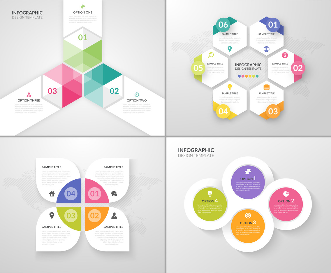 Abstract Infographic Design Vector Templates