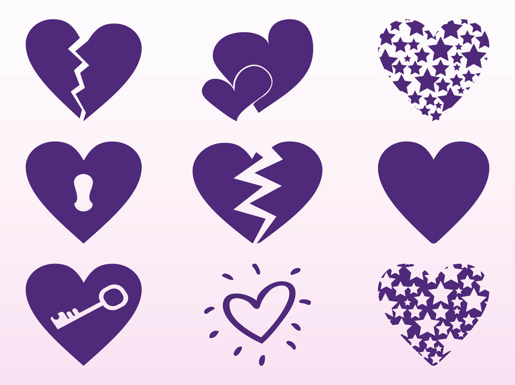 Purple Hearts Set