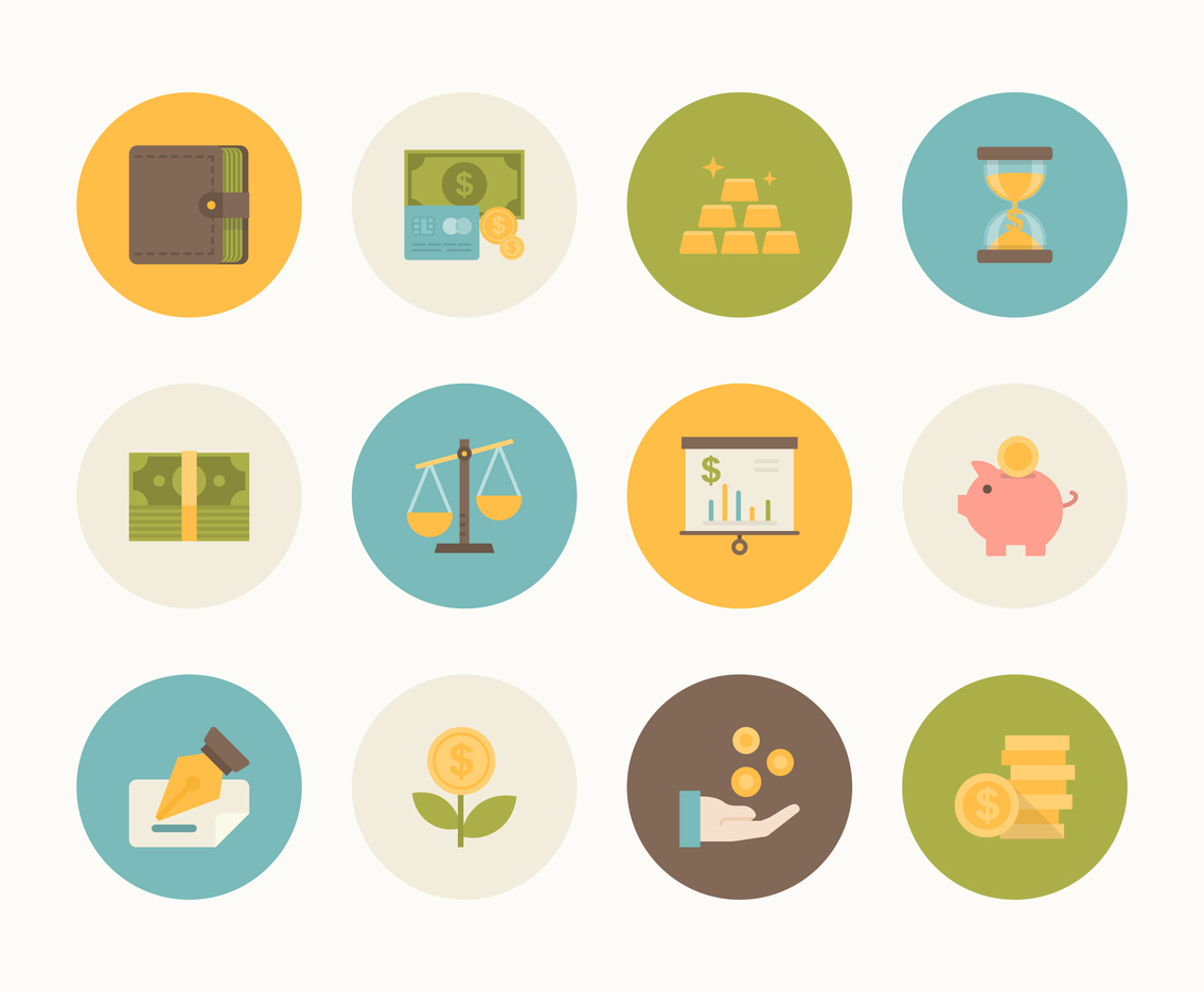Flat Money And Finance Icon Vector Set