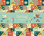 Cute Spring Seamless Vector Background