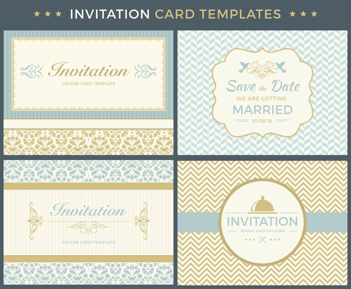 Vintage Invitation Card Template Vector Set