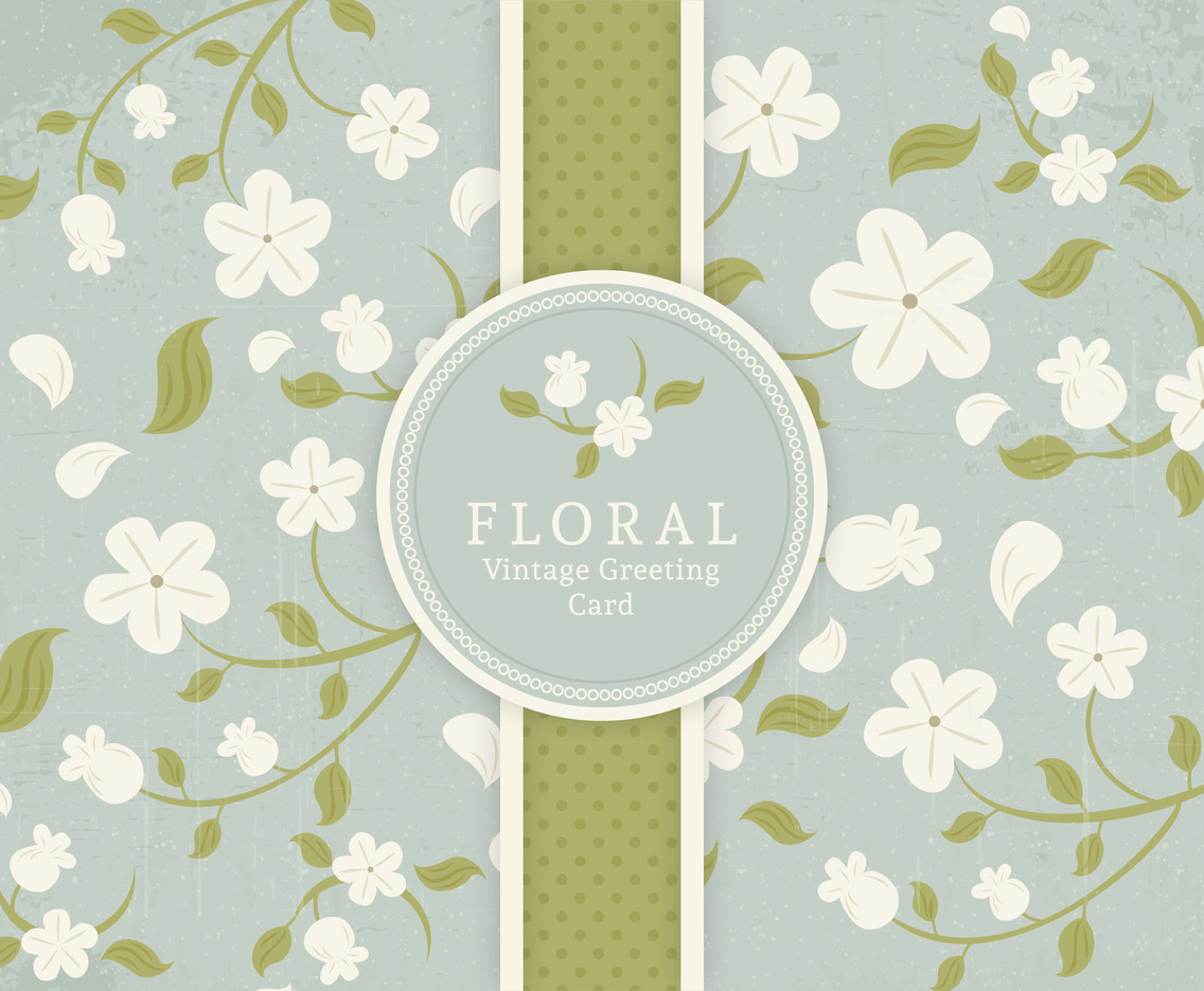 Floral Vintage Greeting Card Vector