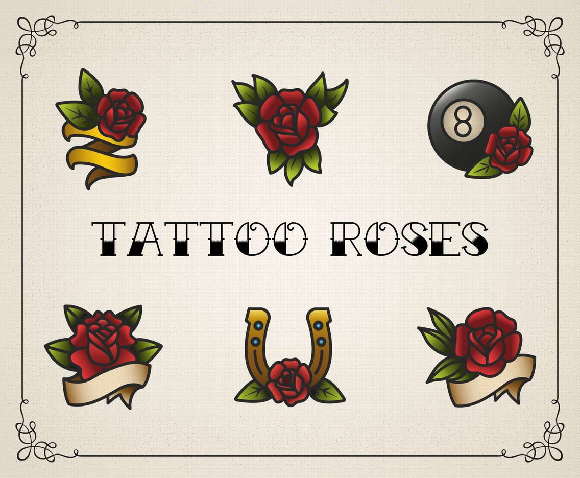 Tattoo Roses Vector Set
