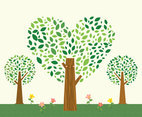 Stylized Abstract Heart Vector Tree