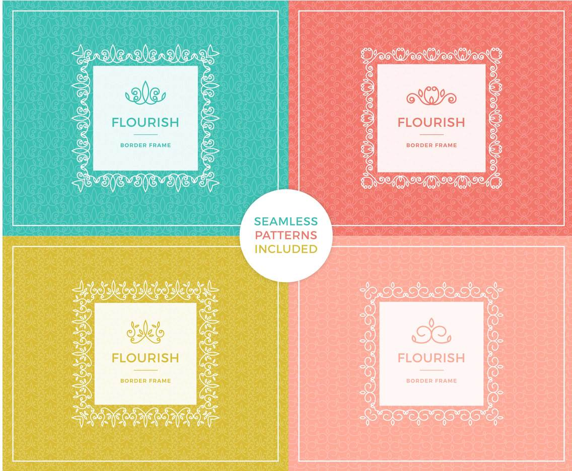 Decorative Flourishes Vector Border Frames